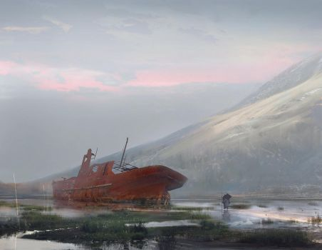 Red boat by RomanKerimov