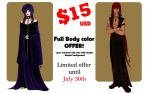 Commissions full body color $15USD - July offer!- by Lauralanthalasa