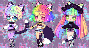 Rainbow Nekos (closed) by Kariosa-Adopts