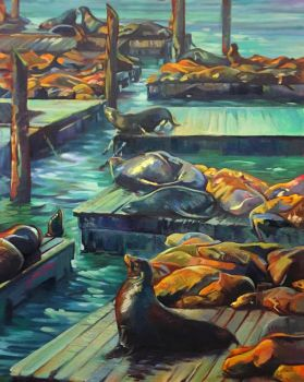 Lounging Sea Lions by Sloppygee