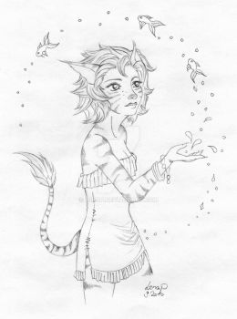Catgirl playing with Fishes by RagnaRayden