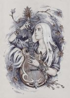 Thranduil and his guitar by Candra