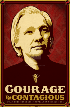Julian Assange Courage Print by Libertymaniacs