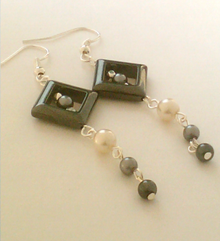 Pearled Hematite Square Earrings by SDRose