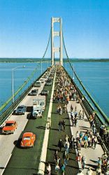 Vintage Michigan - Labor Day Walk, Mackinac Bridge by Yesterdays-Paper