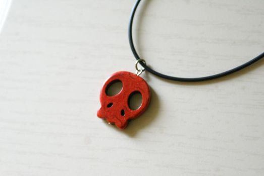 Little Red Skull Necklace by MonsterBrandCrafts
