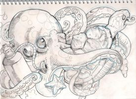 sea stuff tattoo sketch by mojoncio