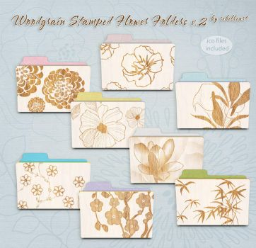 woodgrain stamped flower folders v2 by seven4soul