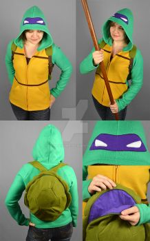 TMNT Donnie Hoodie with Shell Backpack by SewDesuNe