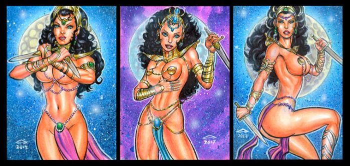DEJAH THORIS PERSONAL SKETCH CARDS APRIL 2017 by AHochrein2010