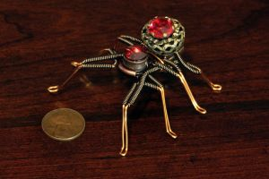 Steampunk Spider Lapel pin Ruby Red by CatherinetteRings