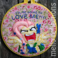 Fluttershy Embroidery Hoop by MelloReflections