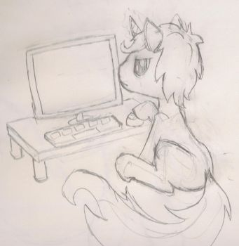 Infinity Dash Sitting At Computer (Sketch) by InfinityDash