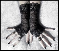 Agathe Long Lace Fingerless Gloves by ZenAndCoffee