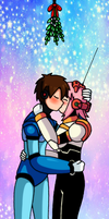 Megaman X and Nana kissing under a mistletoe by meteorstom