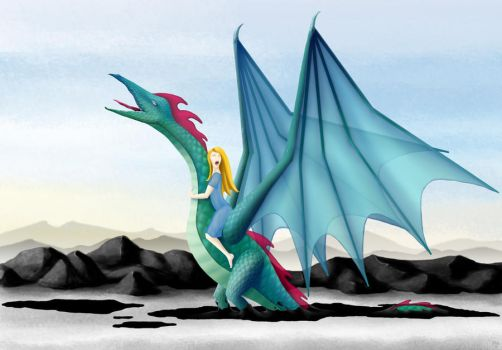 Girl on a Dragon by Crooty