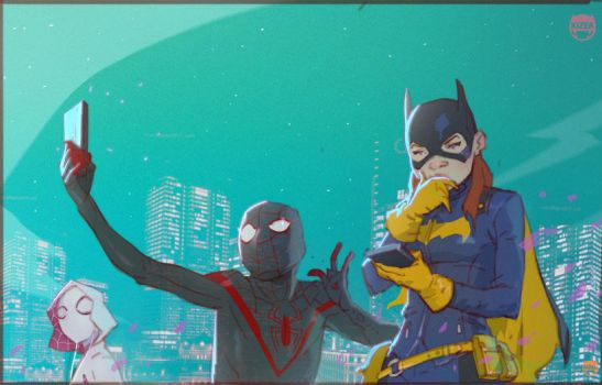 A little Downtime with Batgirl, Miles and Gwen by CoranKizerStone