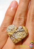 Heart shaped steampunk RING by colourful-blossom