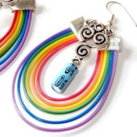 Rainbow Silver Clouds Computer Electronics Earings by Techcycle