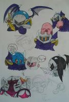Kirby and Meta Knight doodles by Kare-Bear117
