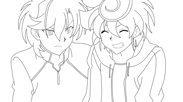 Chrono and Kazuma 1 Lineart by BlueYusei