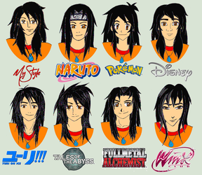 Virmont in different anime styles by Virmont89