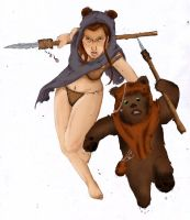 Ewok Girl with Ewok by Seithe