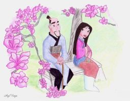 Mulan and her father by AgiVega