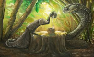 Tea Time: Mongoose and Cobra by Puppy-Chow