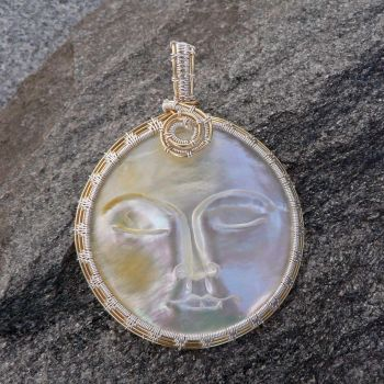 Mother of Pearl Moon Pendant by magpie-poet