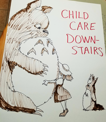 Totoro (child care sign) by Thastygliax