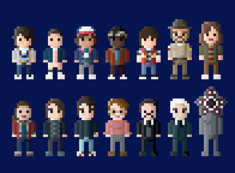 Stranger Things Characters 8 Bit by LustriousCharming
