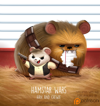 Daily Paint 1518. Hamstar Wars - Han and Chewie by Cryptid-Creations