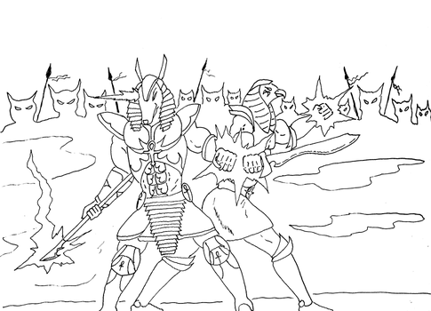 Anubis and Horus wip by GalaxyZento