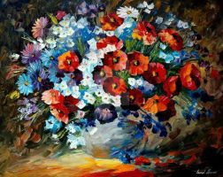 Poppies And Cornflowers by Leonid Afremov by Leonidafremov