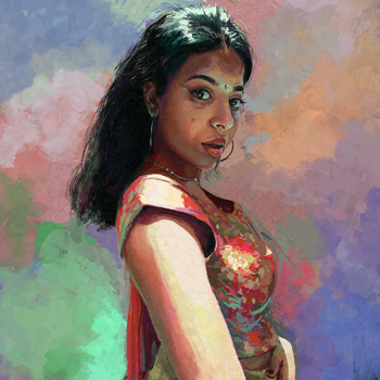 Lady in Red and Gold by efraim-ninsiima-art