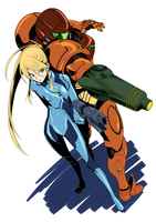 ZSS and Samus Colored by fidyyuan