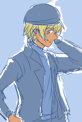 Amuro dressed in Akai's clothes by mimidan