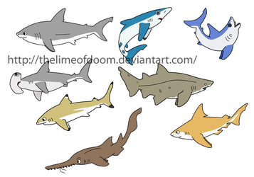 Shark chibis by thelimeofdoom