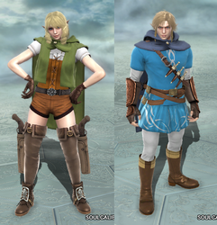 Soulcalibur V: Link (BotW) and Linkle by LeeHatake93