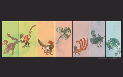 Theropods, everywhere by IceandSnow