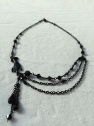 Asymmetrical Black Hand Necklace by bluemont-vampire
