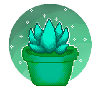pixel Succulent Blue by jazzy1lol