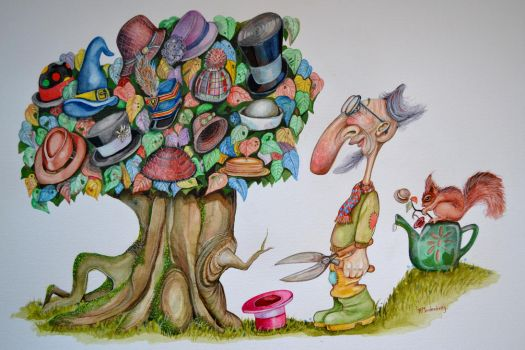 Mr Constantine and his Hat Tree. by Rogeregoo