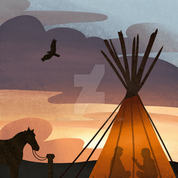 Teepee at Sunset by DiceBarn5