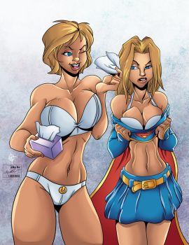 Powergirl and Supergirl by DEADNEMO