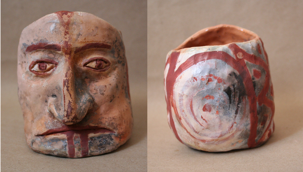 Pre-Colombian inspired face vessel by Slothsofdeath