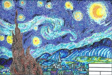 Pointillism Starry Night by mahoujirou