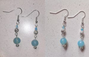 blue glass pearls with silver filigrees earrings by syn-O-nyms