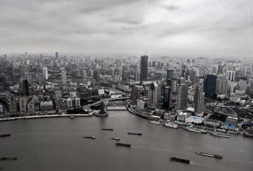 Shanghai skyline by bluebell-mi